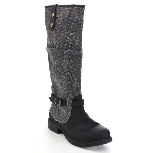 C LABEL ROMO-9 Women's Buckle Foldable Split Joint Flat Heel Knee High Boots