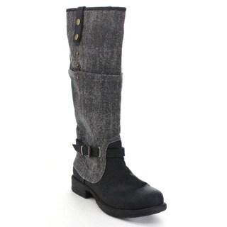 C LABEL Women's Buckle Knee High Boots