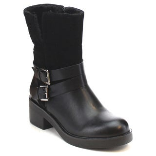 MI.IM SOLID-06 Women's Faux Fur Lining Buckle Strap Side Zip Mid-Calf Snow Boots