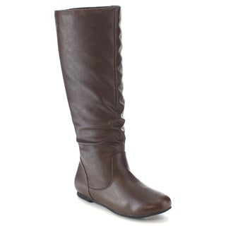 FOLLOW ME FRANCO-1 Women's Classic Easy On Slouchy Zip Up Flat Knee High Boots