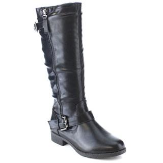 RCK BELLA STEVE-3 Women's Double Side Zipper Buckled Strap Chunky Riding Boots
