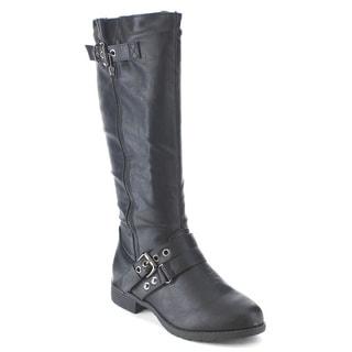 RCK BELLA STEVE-5 Women's Comfy Decorative Buckle Strap Side Zipper Riding Boots