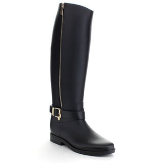 QUPID MISO-01 Women's Waterproof PVC Buckle Side Zipper Knee High Rain Boots