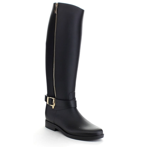 QUPID MISO-01 Women's Waterproof PVC Buckle Side Zipper Knee High Rain Boots (As Is Item)