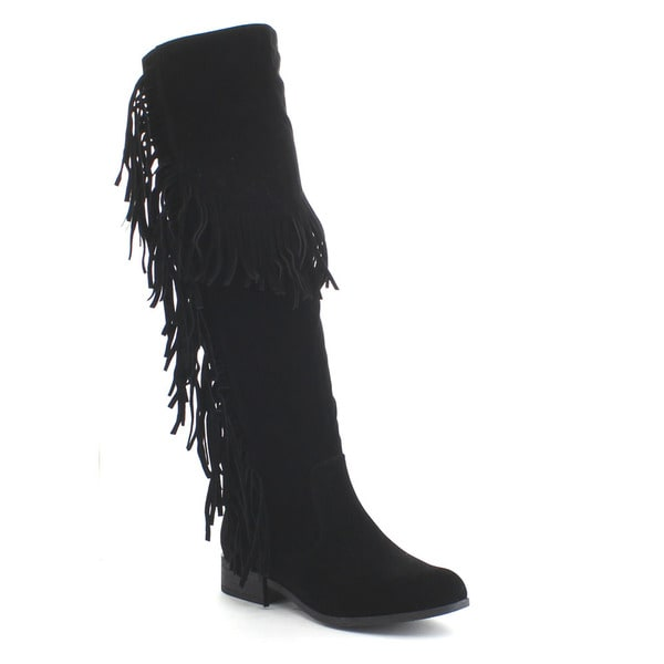CAPE ROBBIN BRANDI-BK-1 Women's Flag Fringe Side Zipper Over The Knee High Boots
