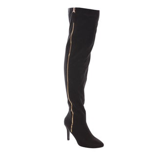 FOREVER ALEXIA-1 Women's Sassy Side Zipper Thigh High Riding Boots