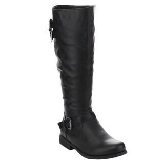 Spirit Moda Celia-1 Women's Casual Knee High Buckle Zipper Riding Boots