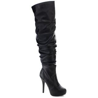 NATURE BREEZE AMBER-06 Women's Platform Slouchy Zip Stiletto Over Knee High Boots