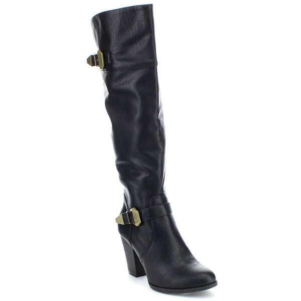 Spirit Moda Fiona-2 Women's Fashion High Heel Over the Knee High Buckle Boots