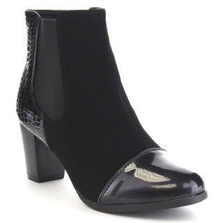 BELLA MARIE PAULA-17 Women's Cap Toe Elastic Snake Fashion Stacked Ankle Booties