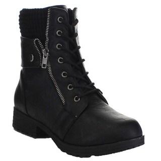 Beston Ba79 Women S Chunky Heel Front Lace Up Combat Style