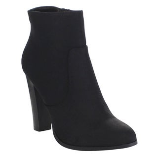 DELICIOUS ADMIT Women's Classic High Stacked Heel Cowboy Ankle Booties