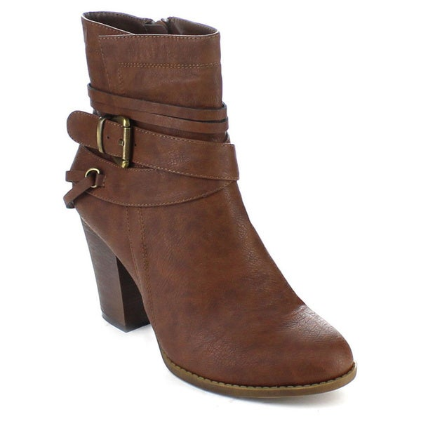 Spirit Moda Fiona-1 Women's Stacked Chunky Heel Side Zip Strappy Ankle Booties