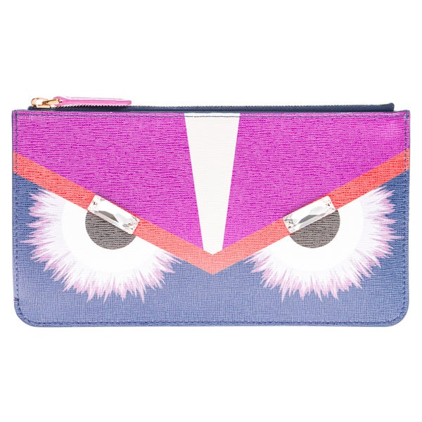 Fendi Monster Leather Flat Zip Pouch