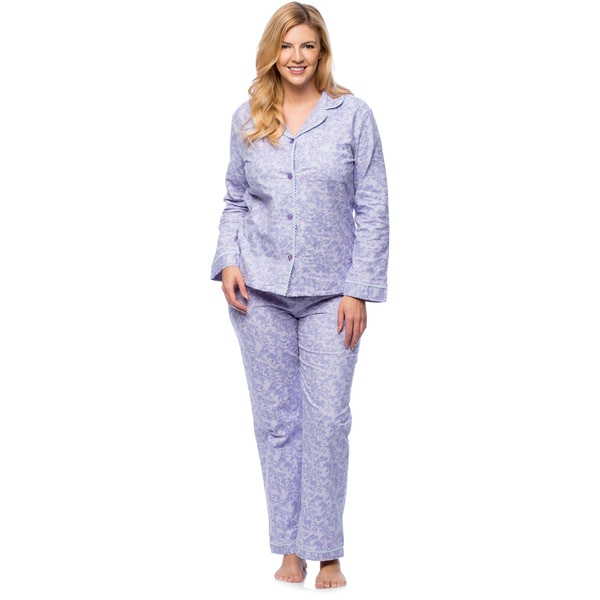 White Mark Women's Plus Paisley Print Flannel Pajama Set