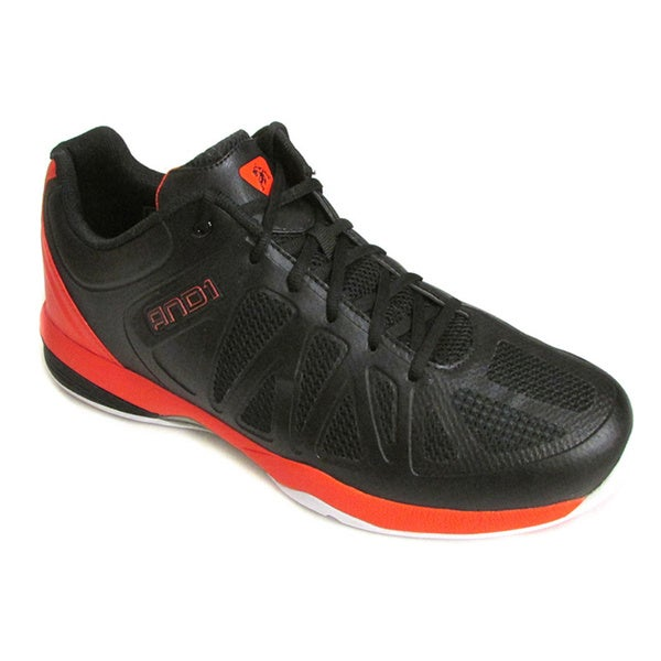 AND 1 Men's Backlash Low Black/Orange/White Basketball Shoes US 15