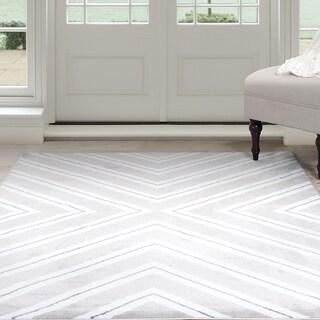Windsor Home Kaleidoscope Area Rug - Grey & White 4' x 6'
