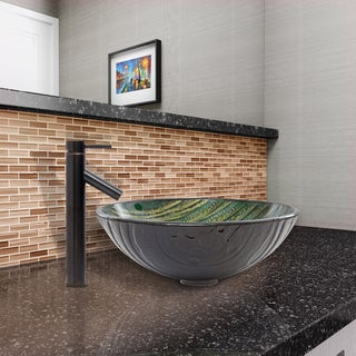 VIGO Green Asteroid Glass Vessel Sink and Dior Faucet Set in Antique Rubbed Bronze Finish