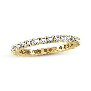 Suzy Levian 14K Yellow Gold 1/2 ct TDW Diamond Eternity Band Ring (H-I, I1-I2)