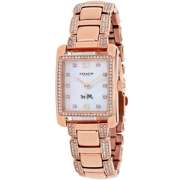Coach Women's 14502017 Page Rectangle Rose Gold-tone Stainless Steel Bracelet Watch