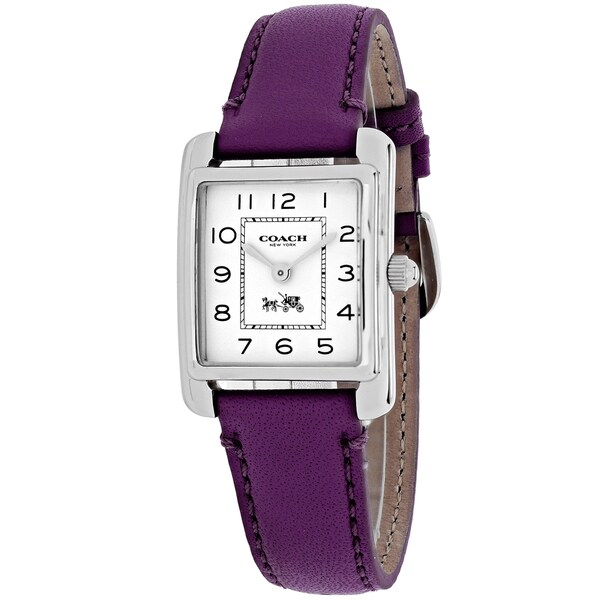 Coach Women's 14502019 Page Square Purple Leather Strap Watch