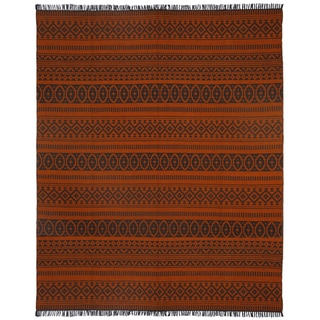 Orange Geo Cotton (9'x12') Reversible Rug