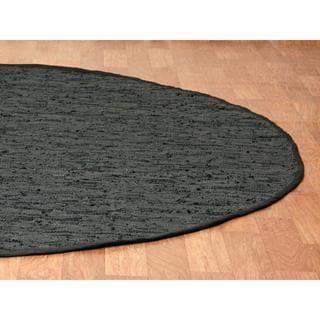 Black Matador Leather Chindi (3'x3') Round Rug