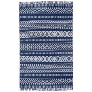 Blue Geo Cotton (5'x8') Reversible Rug