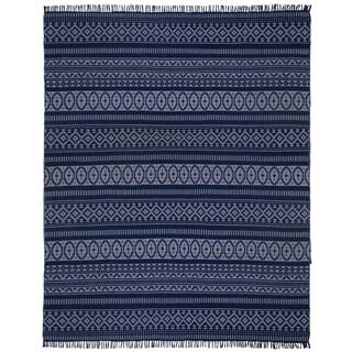 Blue Geo Cotton (8'x10') Reversible Rug