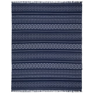 Blue Geo Cotton (9'x12') Reversible Rug