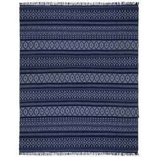 Blue Geo Cotton (9'x12') Reversible Rug