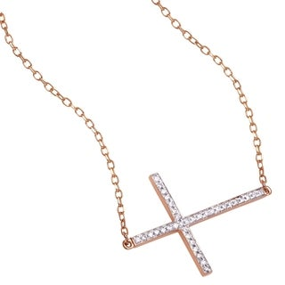 Beverly Hills Charm 14K Gold 1/6ct TDW Diamond Sideways Cross Necklace (H-I, SI2-I1)