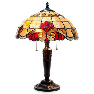 Tiffany Style Victorian Design 2-light Bronze Table Lamp