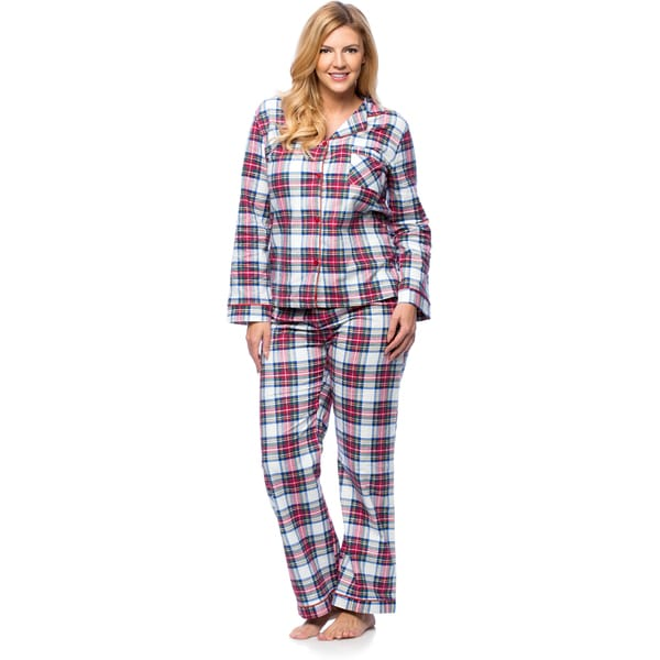 White Mark Women's Plus Size Plaid Flannel Pajama Set XL in Coral/ Blue (As Is Item)