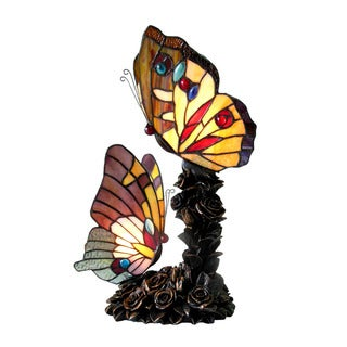 Tiffany Style Butterfly 2-light Bronze Table Lamp
