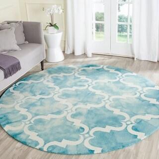 Safavieh Handmade Dip Dye Turquoise/ Ivory Wool Rug (7' x 7' Round)