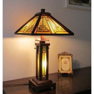 Chloe Lighting Tiffany Style Mission Design Double Lit 2 + 1-light Bronze Table Lamp