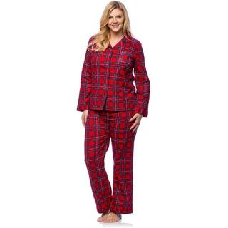White Mark Women's Plus Red Plaid Flannel Pajama Set