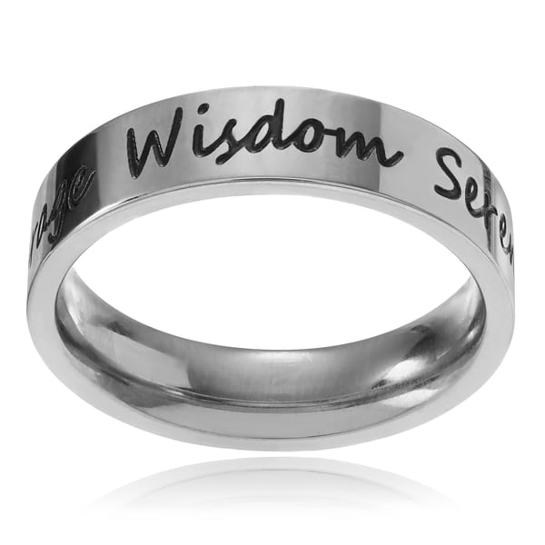 Journee Collection Stainless Steel 'Courage Wisdom Serenity' Band (5mm)