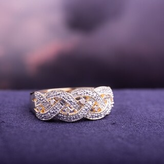 Miadora Yellow Plated Sterling Silver 1/8ct TDW Diamond Braided Ring (H-I, I2-I3)