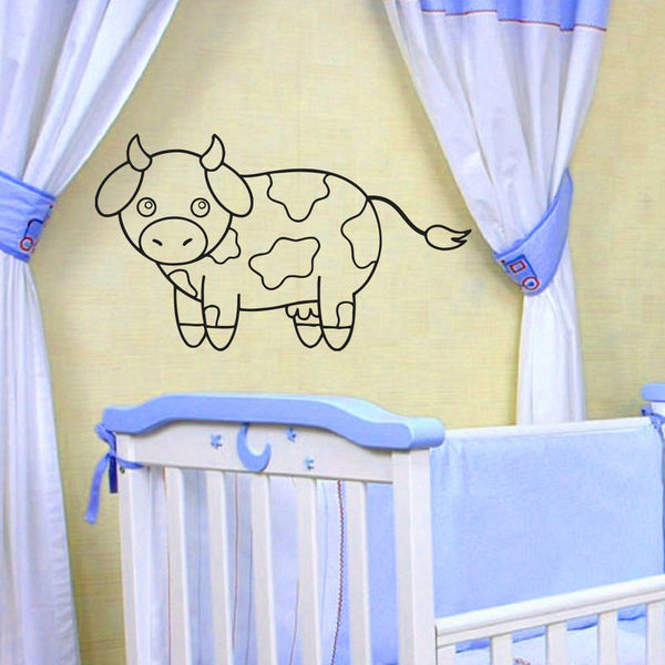 Cartoon Cow Kids Room Vinyl Wall Art Decal Sticker