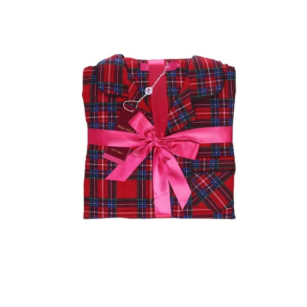 White Mark Women's Red Plaid Flannel Pajama Set