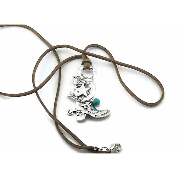 Mama Designs Western-style Cowboy Boot Leather Necklace