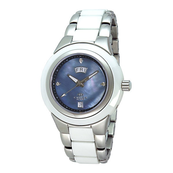 Oniss ON435-L/BK/WT Women's Ceramic and Stainless Steel Mother of Pearl Dial Watch