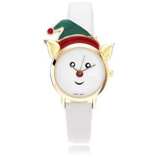 Geneva Platinum Women's Elf Face Leather Strap Watch