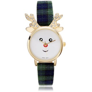 Geneva Platinum Women's Rhinestone Accent Reindeer Face Leather Strap Watch
