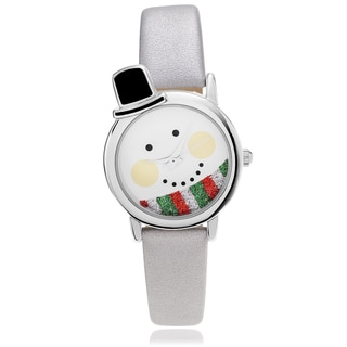 Geneva Platinum Women's Snowman Face Dial Leather Strap Watch