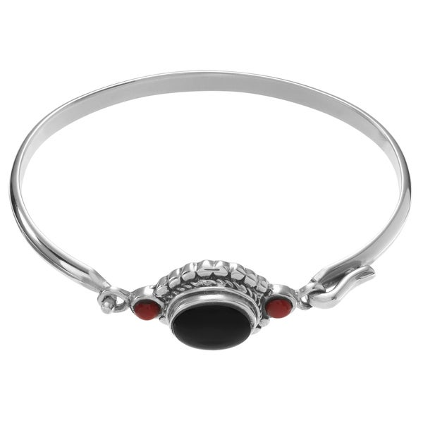 Journee Collection Sterling Silver Onyx Carnelian Stone Accent Bangle