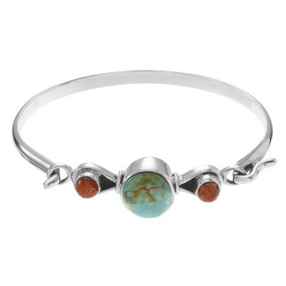 Journee Collection Sterling Silver Turquoise Coral Stone Accent Bangle