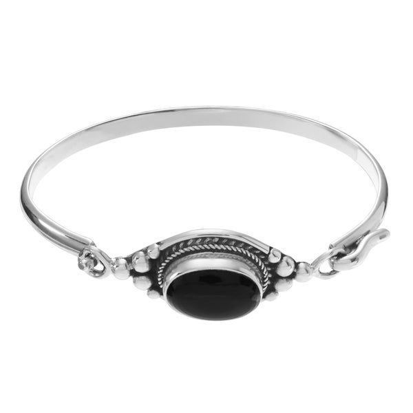 Journee Collection Sterling Silver Onyx Stone Accent Bangle